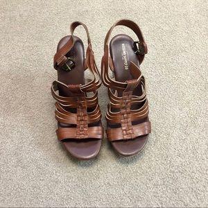 Brown Cork Style Wedge Sandals